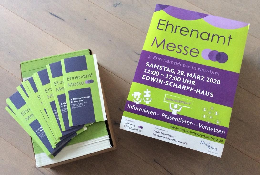 Flyer und Plakate der EhrenamtMesse Neu-Ulm 2020